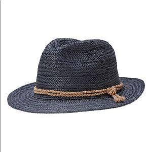 Athleta Straw Ranch Fedora Hat One Size Gray/Blue